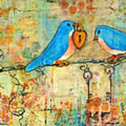 Bluebird Painting - Art Key To My Heart Poster by Blenda Studio