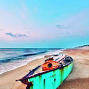 Boat Under Morning Moon Outer Banks I Poster by Dan Carmichael
