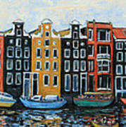 Boats In Front Of The Buildings Vi Poster by Xueling Zou
