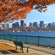 Boston Charles River In Autumn Poster by John Burk