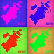 Boston Pop Art Map 1 Poster by Naxart Studio