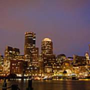 Boston Skyline Blue Hour Poster by Stewart Mellentine
