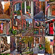 Boston Tourism Collage Poster by Joann Vitali