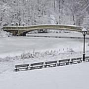 Bow Bridge Central Park Winter Wonderland Poster by Susan Candelario