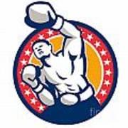 Boxer Boxing Punching Jabbing Retro Poster by Aloysius Patrimonio