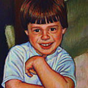 Boy In Blue Shirt Poster by Kenneth Cobb