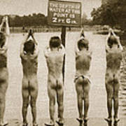 Boys Bathing In The Park Clapham Poster by English Photographer