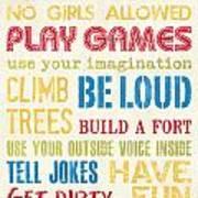 Boys Rules Poster by Debbie DeWitt
