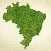 Brazil Grass Map Poster by Aged Pixel