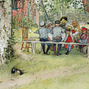 Breakfast Under The Big Birch Poster by Carl Larsson