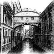 Bridge Of Sighs Pencil Poster by Jenny Hudson