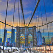 Brooklyn Bridge At Dusk Poster by Randy Aveille