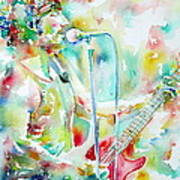 Bruce Springsteen Playing The Guitar Watercolor Portrait.1 Poster by Fabrizio Cassetta