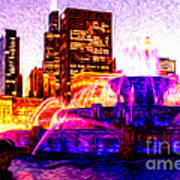 Buckingham Fountain At Night Digital Painting Poster by Paul Velgos