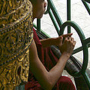 Buddhist Monk Leaning Against A Pillar Sule Pagoda Central Yangon Myanar Poster by Ralph A  Ledergerber-Photography