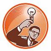 Businessman Holding Lightbulb Woodcut Poster by Aloysius Patrimonio