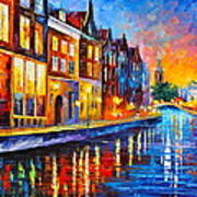 Canal In Amsterdam Poster by Leonid Afremov