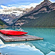 Canoes Of Lake Louise Alberta Canada Poster by George Oze