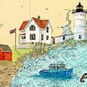 Cape Neddick Lighthouse Me Nautical Chart Map Art Cathy Peek Poster by Cathy Peek