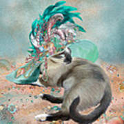 Cat In Summer Beach Hat Poster by Carol Cavalaris