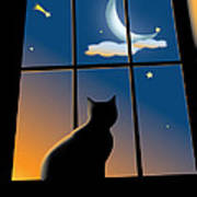 Cat On The Window Poster by Aleksey Tugolukov