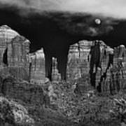 Cathedral Rock Moon Rise Poster by Dave Dilli