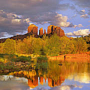 Cathedral Rock Reflected In Oak Creek Poster by Tim Fitzharris