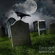 Cemetery With Old Gravestones And Moon Poster by Sandra Cunningham