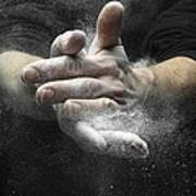 Chalked Hands, High-speed Photograph Poster by Science Photo Library