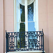Charleston Pink White Architecture - Charleston Historical District French Quarter Window Balcony Poster by Kathy Fornal