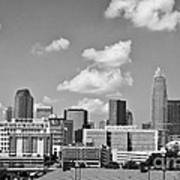 Charlotte Skyline In Black And White Poster by Jill Lang