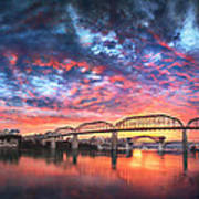 Chattanooga Sunset 4 Poster by Steven Llorca