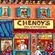 Chenoys Delicatessen Montreal Landmarks Painting  Carole Spandau Street Scene Specialist Artist Poster by Carole Spandau