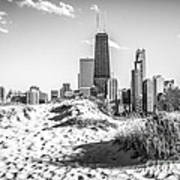 Chicago Beach And Skyline Black And White Photo Poster by Paul Velgos