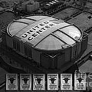 Chicago Bulls Banners In Black And White Poster by Thomas Woolworth