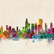 Chicago City Skyline Poster by Michael Tompsett