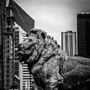Chicago Lion Statues In Black And White Poster by Paul Velgos