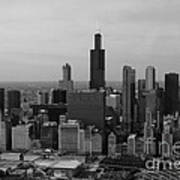 Chicago Looking West 01 Black And White Poster by Thomas Woolworth