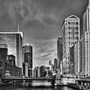 Chicago River In Black And White Poster by Sebastian Musial