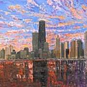 Chicago Skyline - Lake Michigan Poster by Mike Rabe
