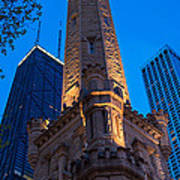 Chicago Water Tower Panorama Poster by Steve Gadomski
