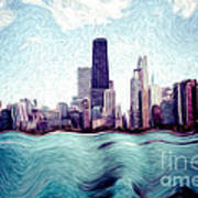 Chicago Windy City Digital Art Painting Poster by Paul Velgos
