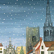 Chichester Cathedral A Snow Scene Poster by Judy Joel