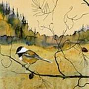 Chickadee In Dancing Pine Poster by Carolyn Doe