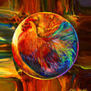 Chicken In The Round Poster by Robin Moline