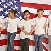 Children In Front Of American Flag Poster by Don Hammond