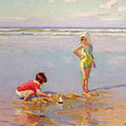 Children On The Beach Poster by Charles-Garabed Atamian