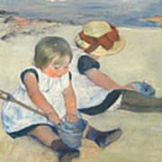 Children Playing On The Beach Poster by Mary Stevenson Cassatt