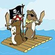 Chipmunk Pirate Dash And Scoot Poster by Christy Beckwith