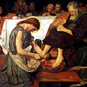 Christ Washing Peter's Feet Poster by Ford Madox Brown
